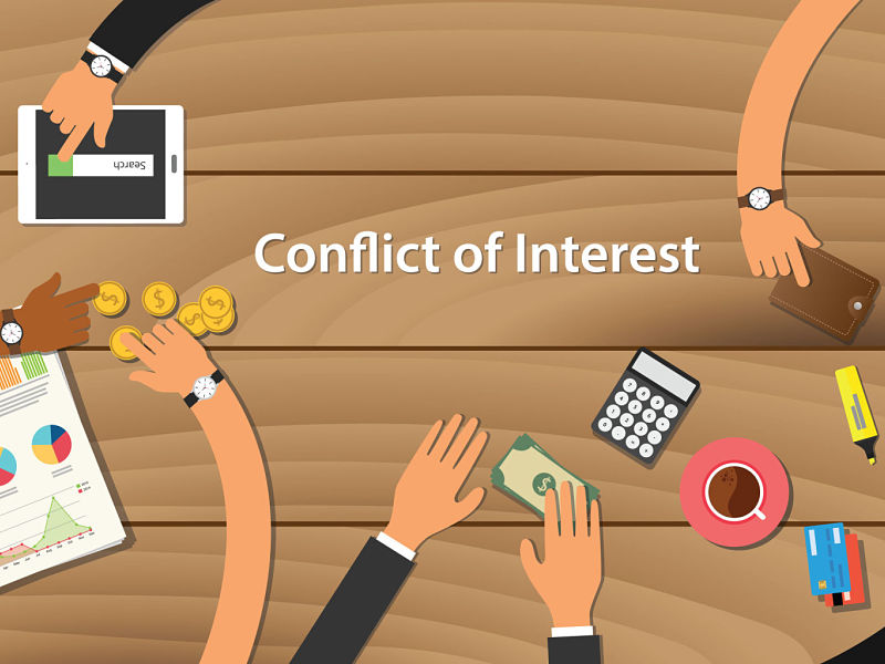 81927817 - conflict of interest illustration team work together with hand on wooden table with money graph paper work gold coin